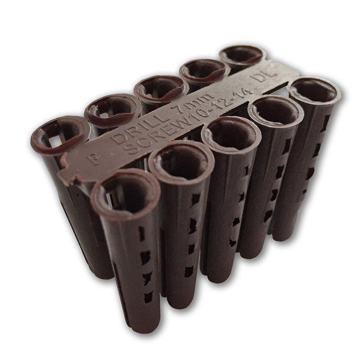 Plastic Wall Plug Solid Wall Brown