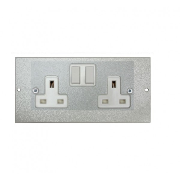 Floor Box Socket Plate Double Gang Switched (For 3 Way Shallow & Deep) Grey (H) 89mm x (L) 185mm