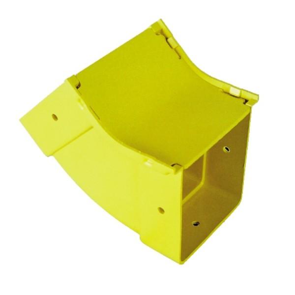 Fibre Ducting Vertical Inside (up) Bend Plastic LSZH 45 Degree c/w Lid Yellow (H) 100mm x (W) 100mm