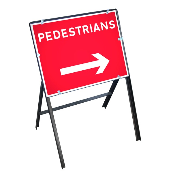 Sign Metal 600 x 450mm Pedestrians Right
