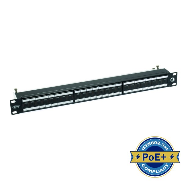 Cat6A Patch Panel Right Angle Shielded 24 Port 1U Black