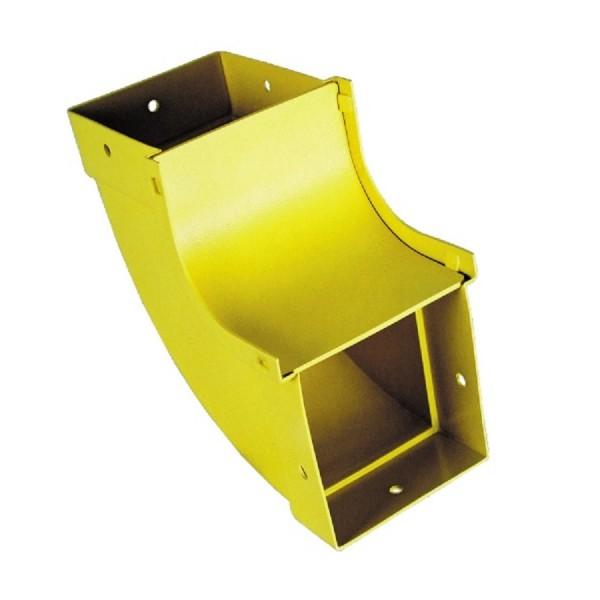 Fibre Ducting Vertical Inside (up) Bend Plastic LSZH 90 Degree c/w Lid Yellow (H) 100mm x (W) 100mm