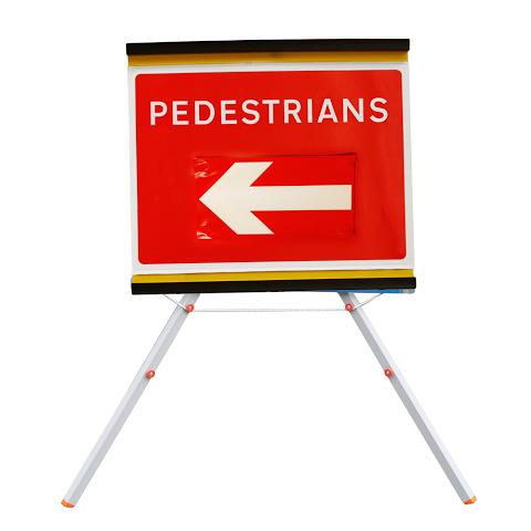 Sign Roll-up 600 x 450mm Pedestrians Left/Right