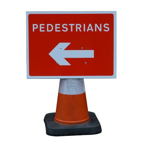 Sign 'Cone Type' 600 x 450mm Pedestrians Left