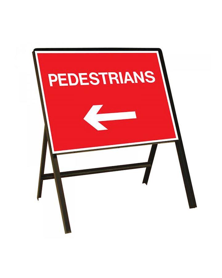 Sign Metal 600 x 450mm Pedestrians Left