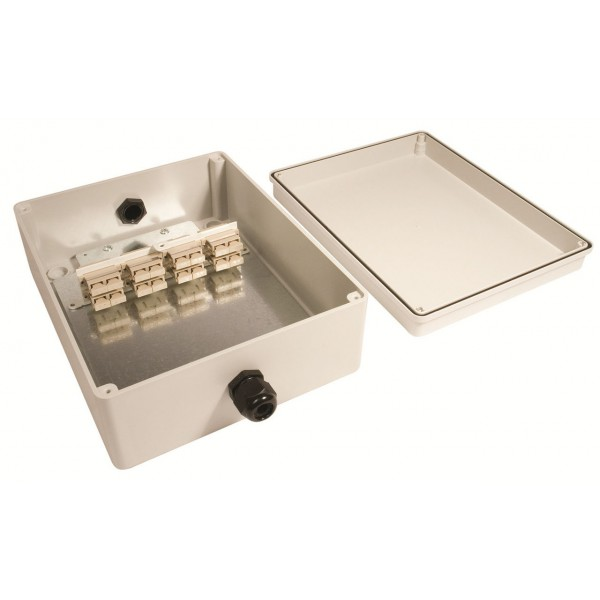 Fibre Optic Breakout Box IP56 16 Way SM SC 8 x Duplex Breakout Box Grey
