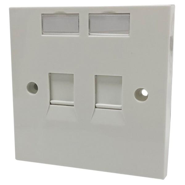 Faceplate Flat Single 2 x Shuttered White 86 x 86mm White