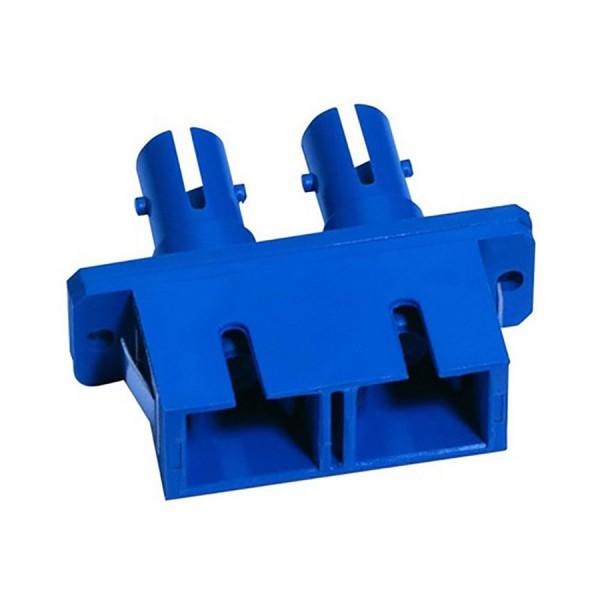 Fibre Optic Adaptor Hybrid SC-ST Duplex SM Ceramic Blue