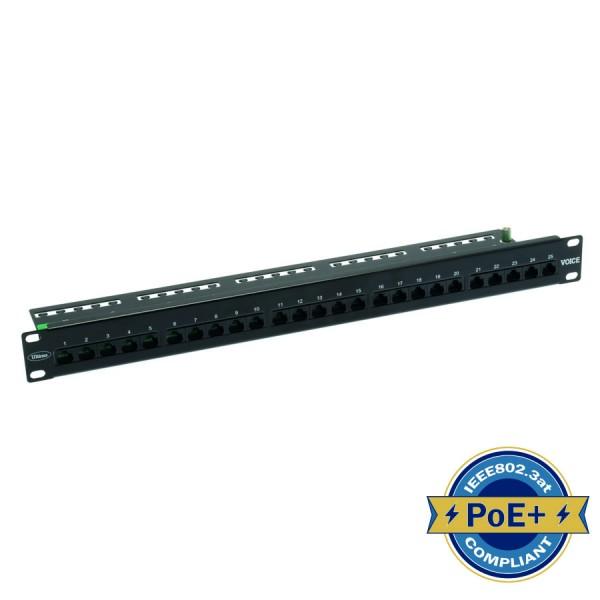 Voice Patch Panel 25 Port 3 pair Right Angle Black 1U