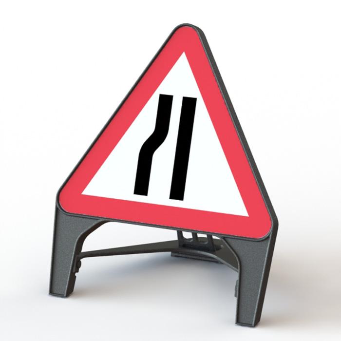 Q' Sign Road Narrows Left