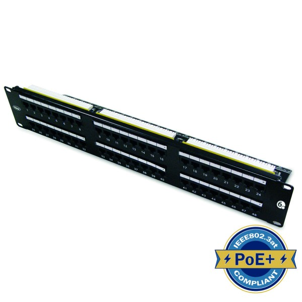 Cat6 Patch Panel Rear Punch Unshielded 48 Port 2U Black