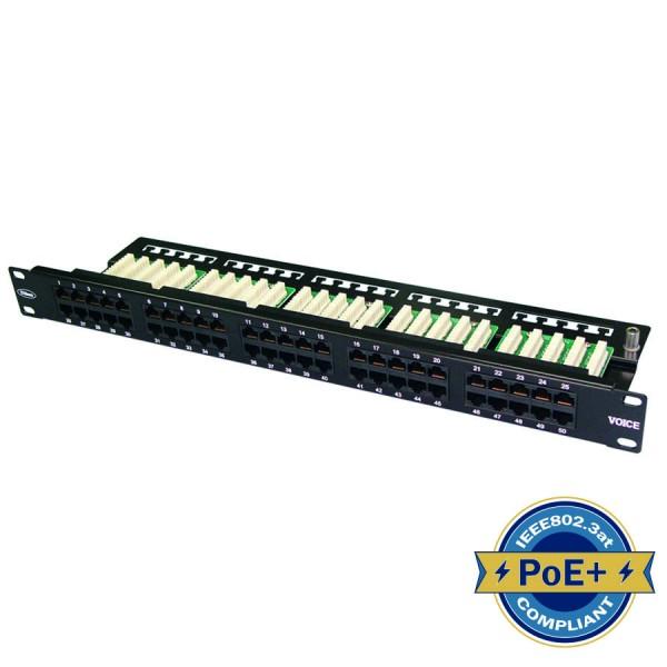 Voice Patch Panel 50 Port 3 pair Right Angle Black 1U