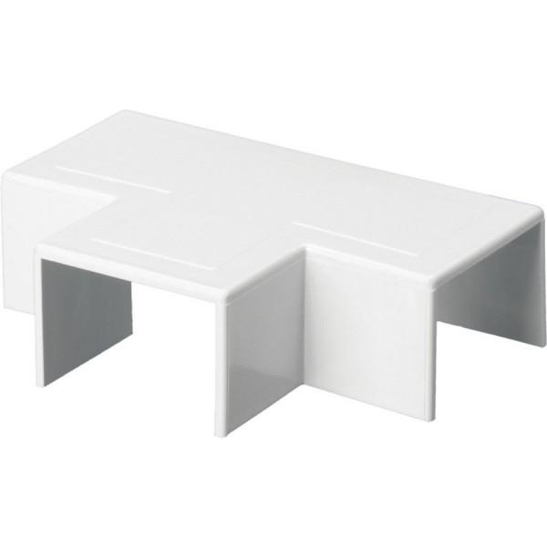 Trunking Mini Flat Tee PVC White (H) 38mm x (D) 38mm
