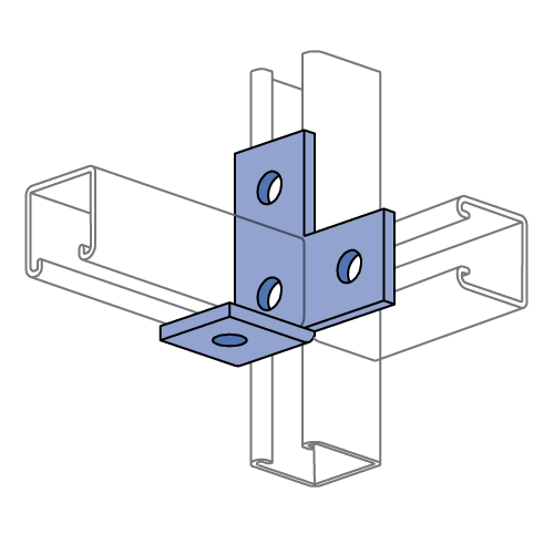 Channel Bracket Angled 90 Degree Hot Dip Galvanised Steel 4 Hole P1035 (W) 89mm x (D) 89mm