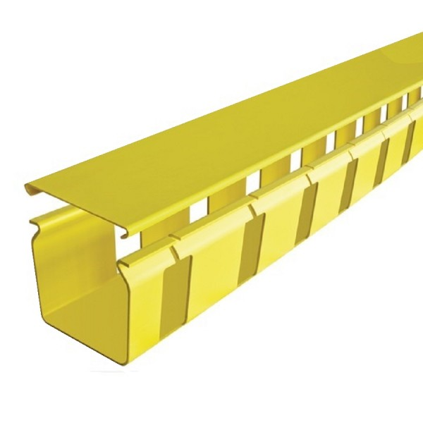 Fibre Ducting Slotted Plastic LSZH 50mm Pitch 70x32mm Cut Out c/w Lid Yellow (H) 100mm x (W) 100mm x (L) 1.8m