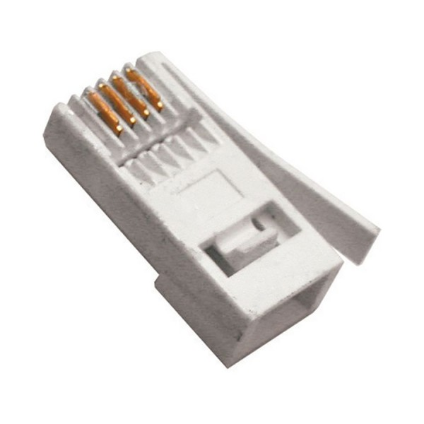 431A BT Style Plug 6 Position/4 Contact 4Way Voice Unshielded Flat R/H Latch White