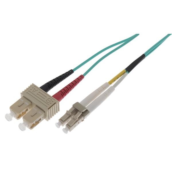 Fibre Patch Lead Duplex MM LC-SC OM3 LSZH 50 Metre