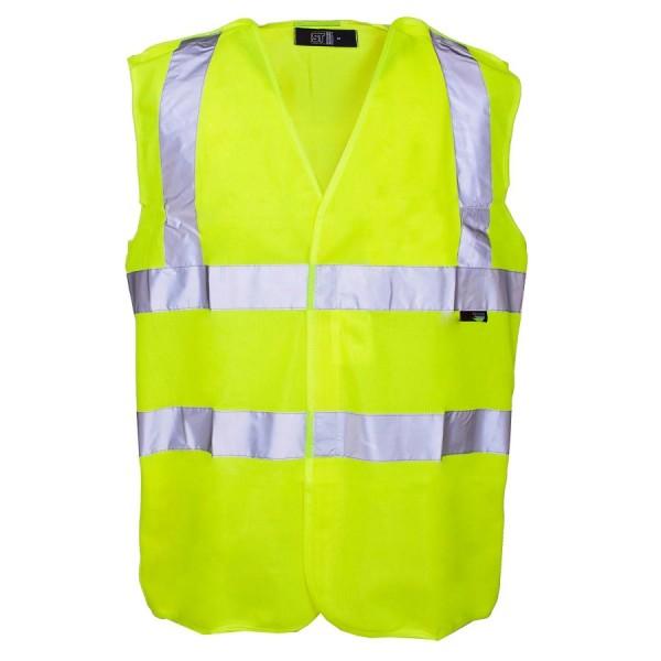 Hi-Viz Waistcoat Yellow Binding Velcro Medium 100-104cm Yellow